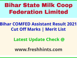 Bihar Milk Cooperative Assistant Selection List 2021