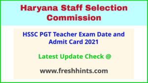 Haryana PGT Teacher Exam Hall Ticket 2021