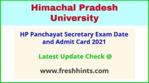 HPU Panchayat Secretary Hall Ticket 2021
