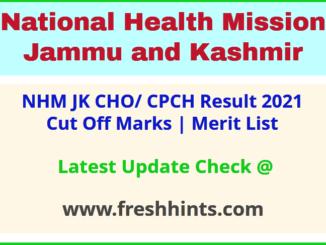 National Health Mission JK CPCH Selection List 2021