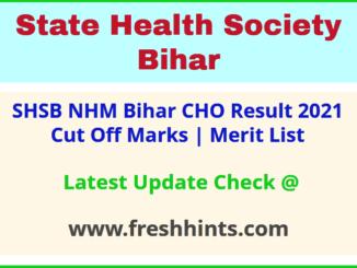 NHM Bihar CHO Selection List 2021