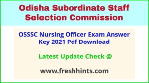 Odisha Staff Nurse Exam Answer Sheet 2021