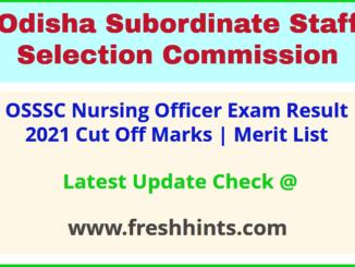 Odisha Staff Nurse Selection List 2021