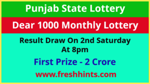 Punjab State Lotteries Dear 1000 Monthly Winner List 2021