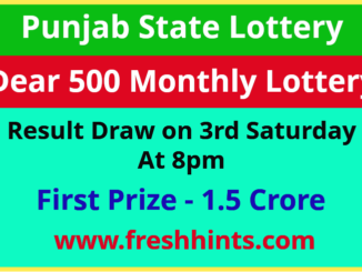 Punjab State Lotteries Dear 500 Monthly Winner List 2021