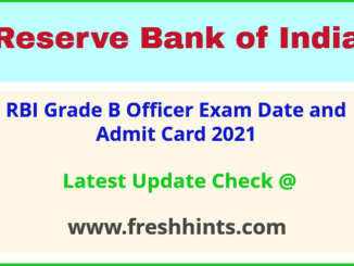 Reserve Bank of India Officer Grade B Hall Ticket 2021
