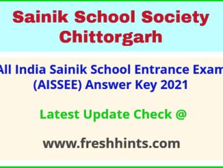 Sainik School Entrance Exam Answer Sheet 2021