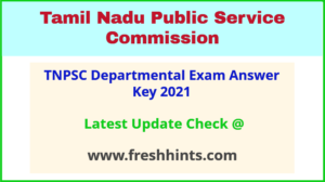 TN Departmental TestAnswer Sheet 2021