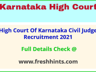 High Court Of Karnataka Civil Judge Recruitment 2021