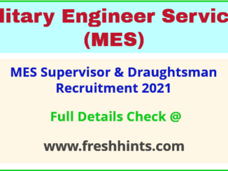 MES Supervisor & Draughtsman Recruitment 2021