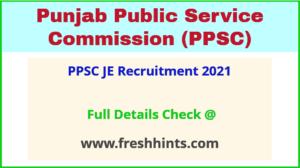 PPSC JE Recruitment 2021