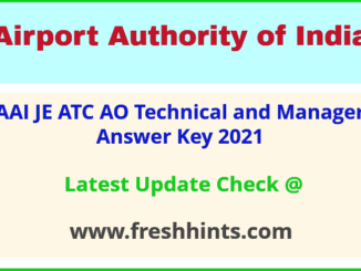 Airport Authority of India ATC Answer Sheet 2021