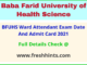 Baba Farid University Ward Attendant Exam Hall Ticket 2021