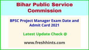 Bihar Pariyojana Prabandhak Exam Hall Ticket 2021
