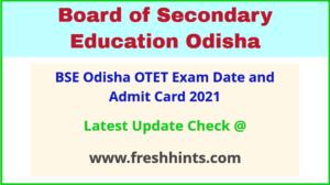 BSE Odisha OTET Hall Ticket 2021