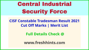 CISF CT TM Selection List 2021