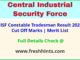 CISF CT TM Selection List 2021