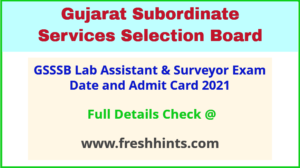 Gujarat Laboratory Assistant Admit Card 2021