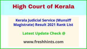 HC Kerala Munsiff Magistrate Selection List 2021