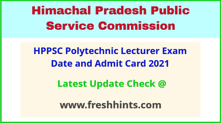 HPPSC Polytechnic Lecturer Admit Card 2021 Exam Date