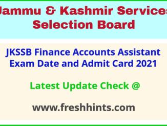 Jammu and Kashmir SSB FAA Hall Ticket 2021