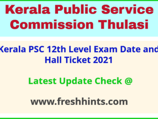 KPSC Plus Two Level Exam Admit Card 2021