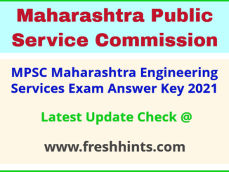 Maharashtra Engineering Services Answer Sheet 2021