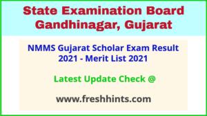 NMMS Gujarat Scholar Exam Selection List 2021