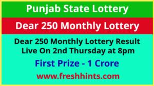 Punjab Lottery Dear 250 Monthly Winner List 2021
