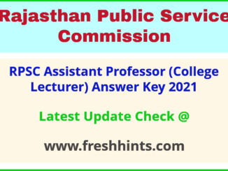 Rajasthan College Lecturer Answer Sheet 2021