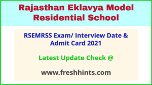 Rajasthan Eklavya Model Residential School Society Admit Card 2021
