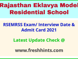 Rajasthan Eklavya Model Residential School Society Admit Card 2021