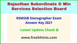 Rajasthan Steno Exam Answer Sheet 2021