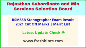 Rajasthan Steno Selection List 2021