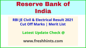 RBI Junior Engineer Selection List 2021