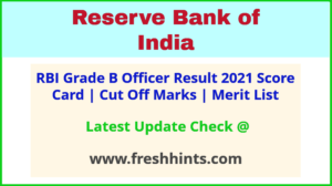 RBI Officer Grade B Selection List 2021