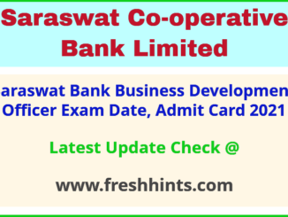 Saraswat Bank Business Development Officer Call Letter 2021