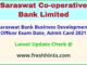 Saraswat Bank Business Development Officer Call Letter 2021