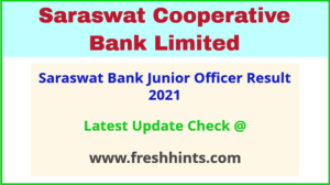 Saraswat Bank Grade B Selection List 2021