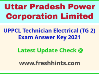 UPPCL Technician Electrical Exam Answer Sheet 2021