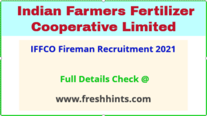 IFFCO fireman recruitment 2021