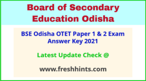 BSE Odisha TET Answer Sheet 2021