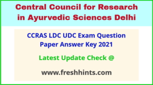 CCRAS Lower Division Clerk Answer Sheet 2021