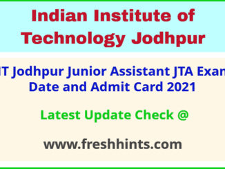IITJ Non Teaching Exam Hall Ticket 2021