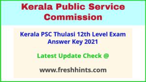 KPSC Thulasi Plus Two Level Question Paper Answer Sheet 2021