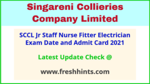 SCCL Fitter Electrician Exam Hall Ticket 2021