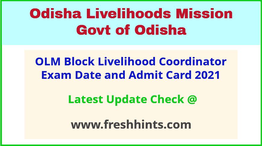 Odisha Livelihood Mission BLC Exam Admit Card 2021